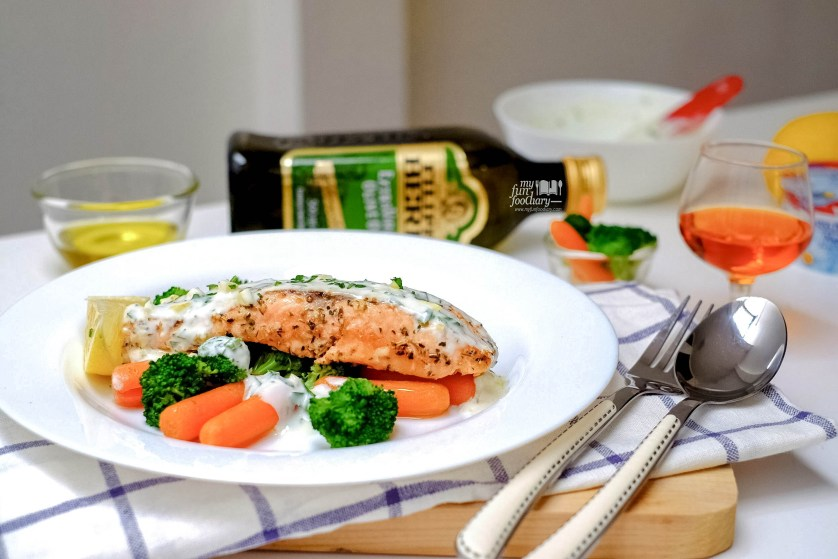Pan-Seared Salmon with Lemon Yogurt Dressing for Filippo Berio by Myfunfoodiary