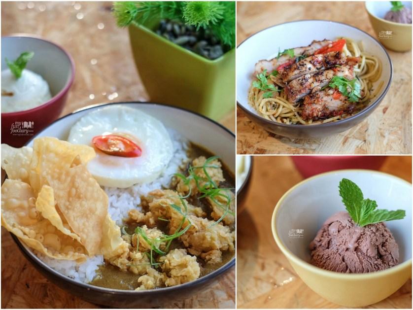 Karage Curry and Aglio Olio set meals at Kamo Kuma by Myfunfoodiary
