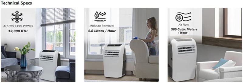 SereneLife 8000 BTU Portable Air Conditioner t
