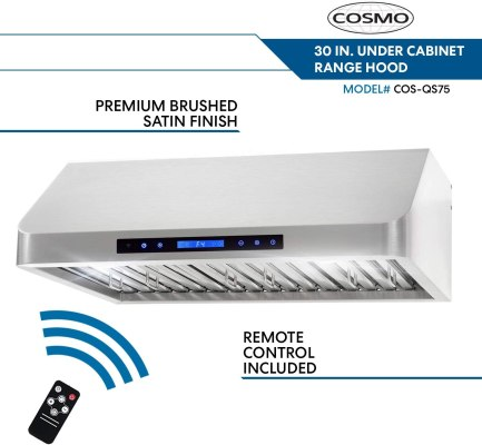Cosmo QS75 30 in Under Cabinet Stainless Steel Range Hood