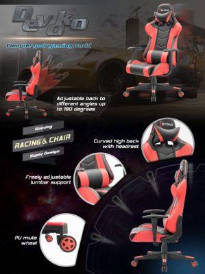 Devoko Ergonomic Gaming Chair Racing Style Adjustable Height High Back PC Computer Chair
