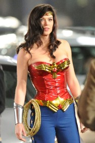 Adrianne Palicki shuts down Hollywood Boulevard as the new 'Wonder Woman'. The actress donned a tight red and blue outfit for action scenes filmed through the night on the famous street. One scene saw her running through cars as she chased a villain. In another she picked herself off the street after being hit by a car. Pictured: Adrianne Palicki Ref: SPL262266 300311 Picture by: Richard Beetham / Splash News Splash News and Pictures Los Angeles: 310-821-2666 New York: 212-619-2666 London: 870-934-2666 photodesk@splashnews.com