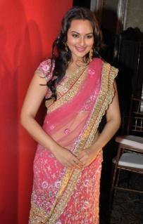 Sonakshi-Sinha-in-Transparent-Saree-Pics-Hot-Pink-Saree-Images
