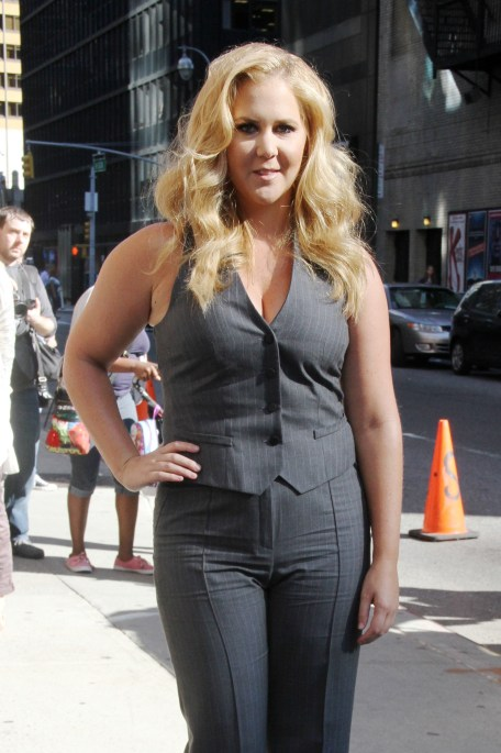 """New York, NY - Part 2 - Amy Schumer arrives for an appearance at """"The Late Show with Stephen Colbert"""" in New York City. AKM-GSI September 11, 2015 To License These Photos, Please Contact : Steve Ginsburg (310) 505-8447 (323) 423-9397 steve@akmgsi.com sales@akmgsi.com or Maria Buda (917) 242-1505 mbuda@akmgsi.com ginsburgspalyinc@gmail.com"""