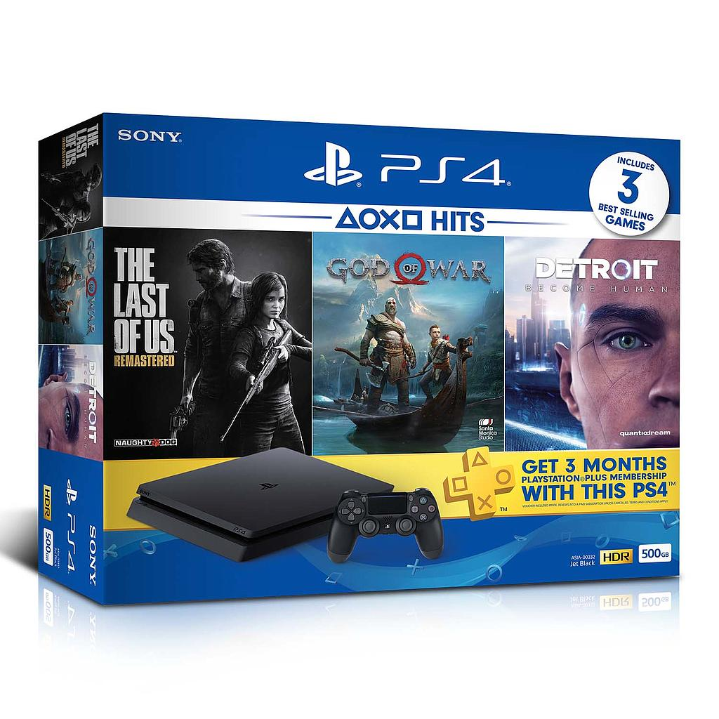 fae47aee3 Sony PlayStation 4 Slim 500GB CUH-2218A Console Hits Bundle (God of War +  Detroit + The last of us )