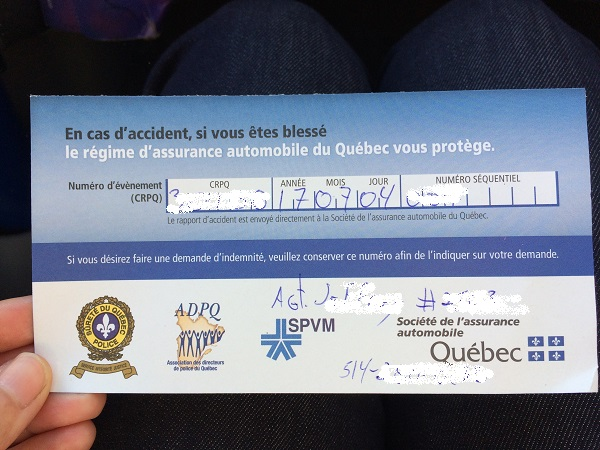 モントリオール、事故、カード