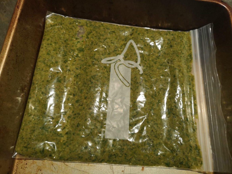 冷凍用密封袋に入れて冷凍します