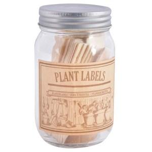 houten plantenlabels in glazen pot