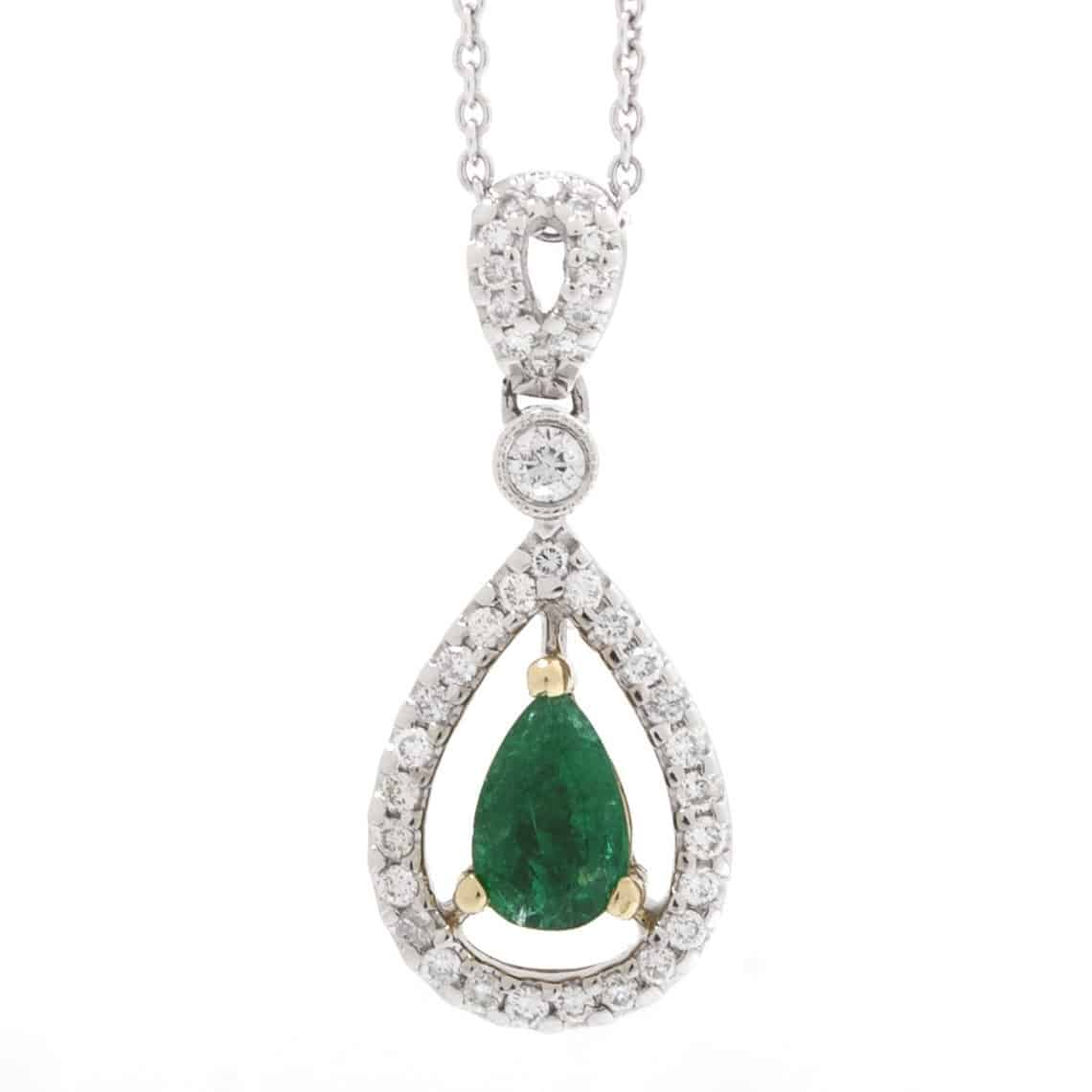 EMERALD & DIAMOND HALO PEAR SHAPE DROP PENDANT