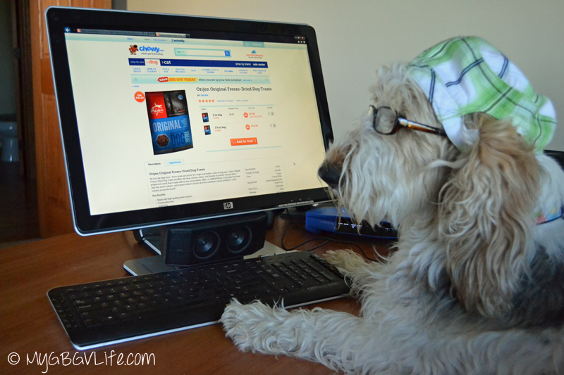 My GBGV Life ordering tasty treats from Chewy.com
