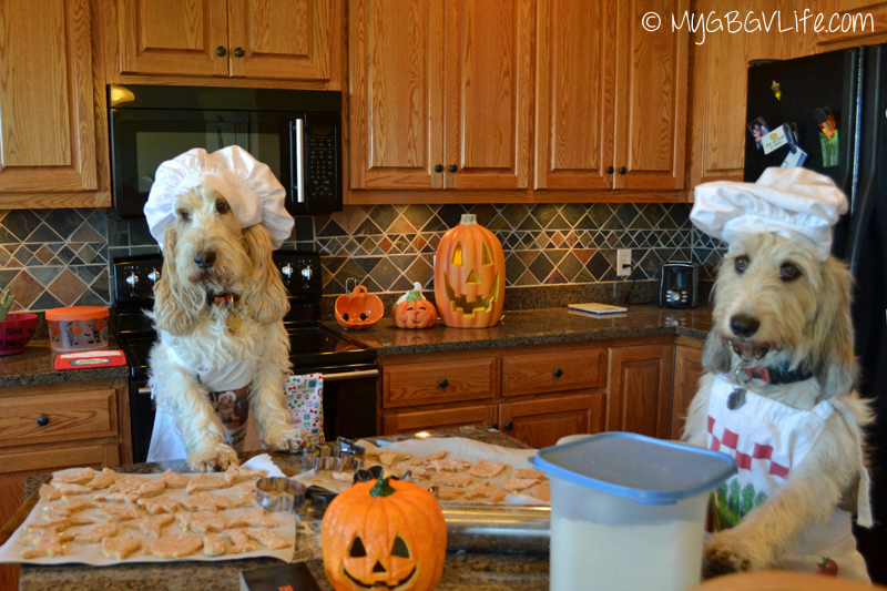 My GBGV Life the girls ready to bake the Halloween cookies