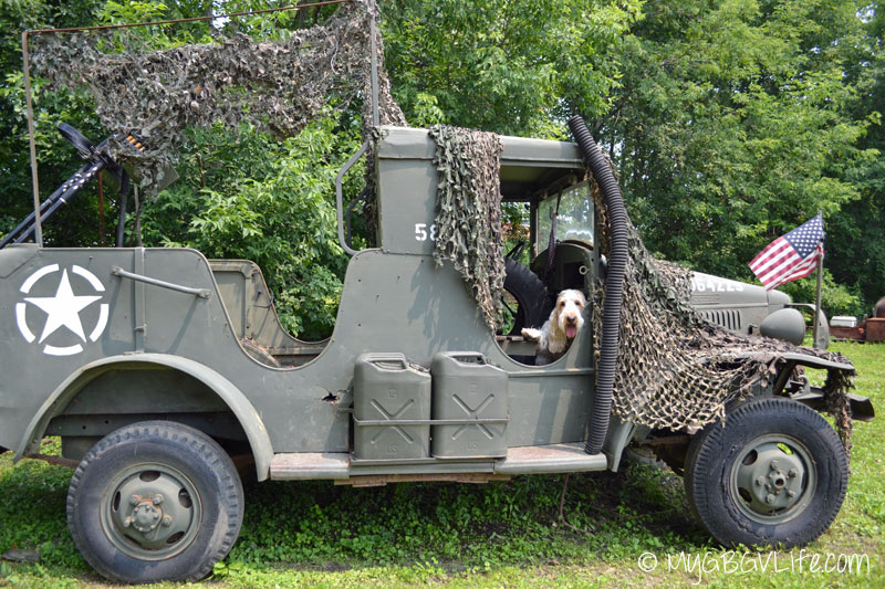 My GBGV Life riding in a military jeep