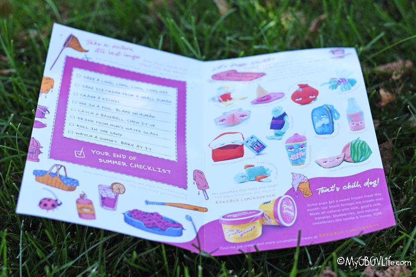 My GBGV Life Bark Box info sheet