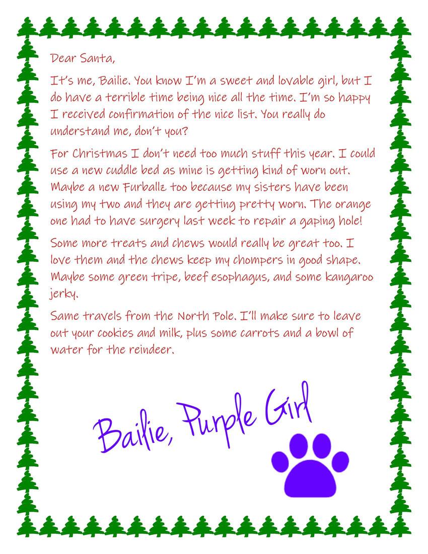 My GBGV Life Bailies letter to Santa