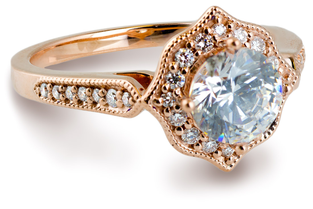 Vintage Halo Engagement Ring With Diamond Accents  7871