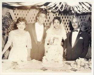 Left to right: Helen Sanchez (grandmother), Albert Luna, Mary Sanchez-Luna, & Anonio Sanchez (Grandfather).