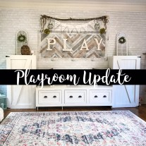 Playroom Update: Herringbone Planks & Faux Brick Wall