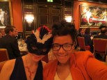 Jamesa and Ilana. The ball was nominally masked, but many people attended unmasked