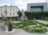 Geometrical flower beds and a mythological sculpture