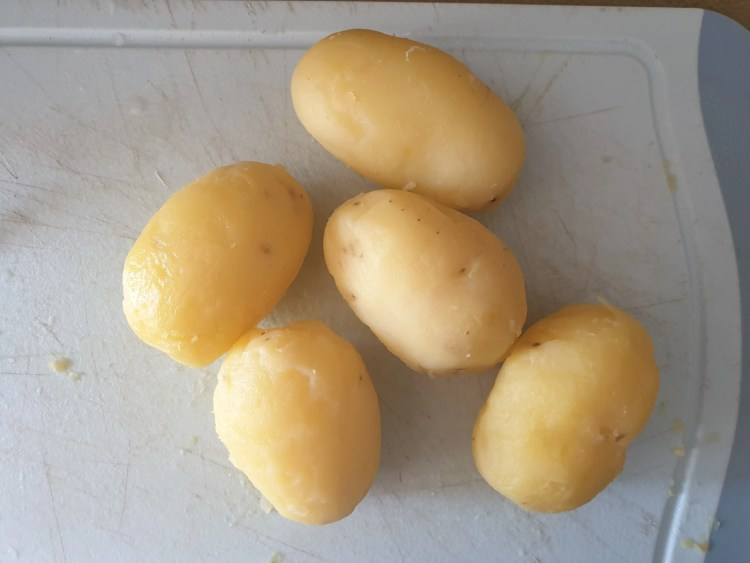 Peeled jacket potatoes