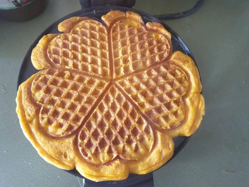 Baked sweet potato waffle