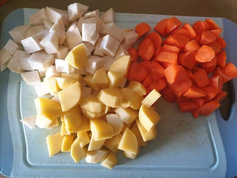 The soup vegetables for beef spaetzle soup (Gaisburger Marsch): Celeriac, carrot, and waxy potatoes
