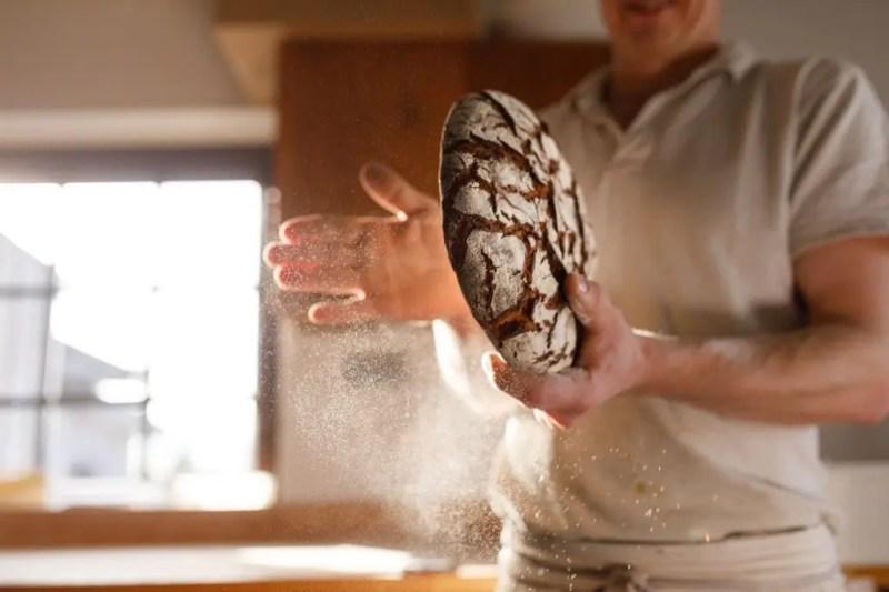 Baker with rye bread