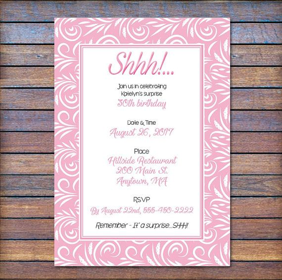 cards stationery personalised birthday party invites surprise party invitations shhhhh pink home furniture diy itkart org