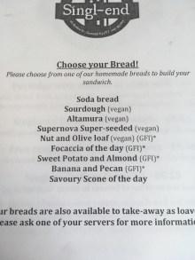 Bread menu