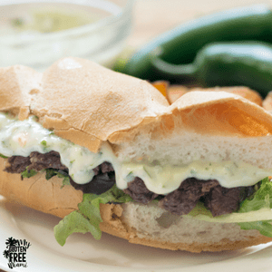 Gluten Free Skirt Steak Sandwich with Jalapeno Cilantro Aioli