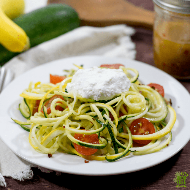 Summer Veggie Zoodles with Red Pepper Lemon Vinaigrette