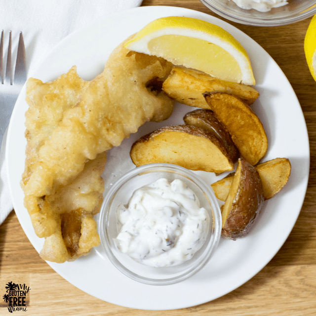 gluten free fish and chips with gluten free tempura batter