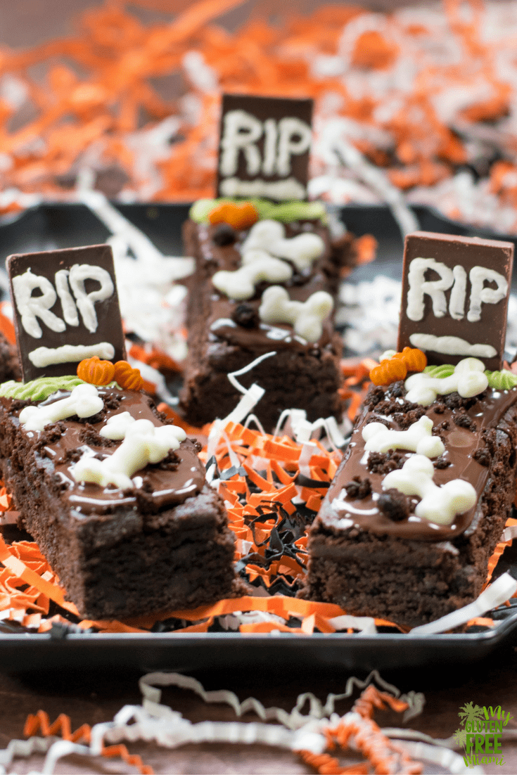 Tray of Gluten Free Tombstone Brownies with bones