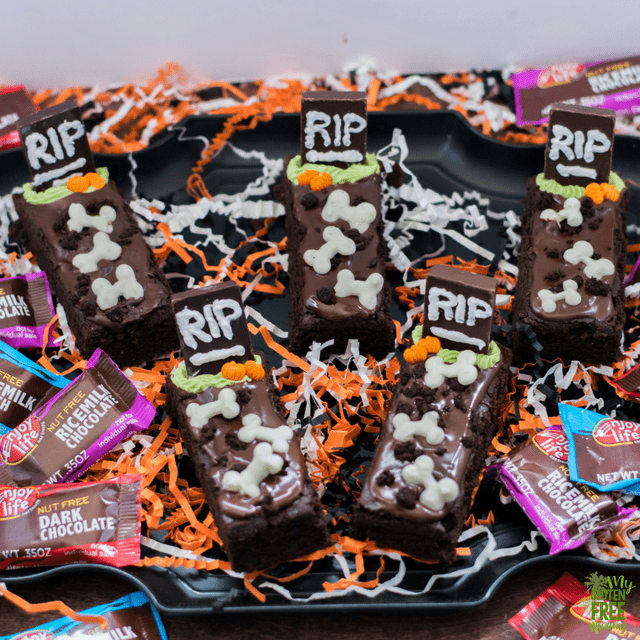 Gluten Free Tombstone Brownies, Chocolate Tombstones with White Chocolate Bones