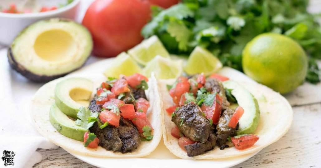 gluten free steak tacos on a plate