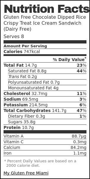 Nutrition label for Gluten Free Chocolate Dipped Crispy Rice Treats Ice Cream Sandwich (Dairy Free)
