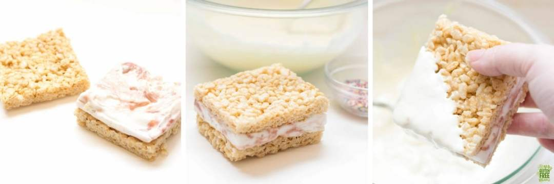 Steps 3-6 to making gluten free rice crispy treat ice cream sandwiches