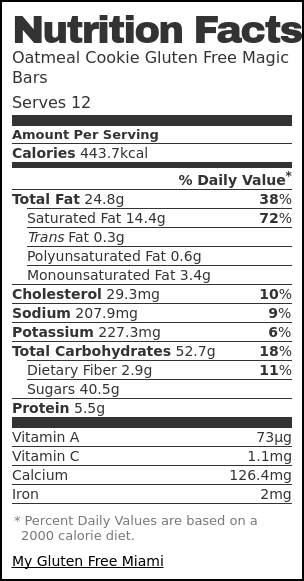 Nutrition label for Oatmeal Cookie Gluten Free Magic Bars