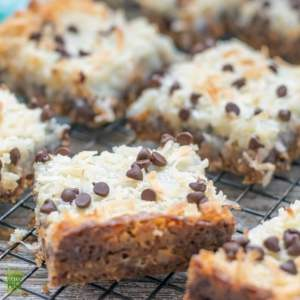 Oatmeal Cookie Gluten Free Magic Bars on cooling rack