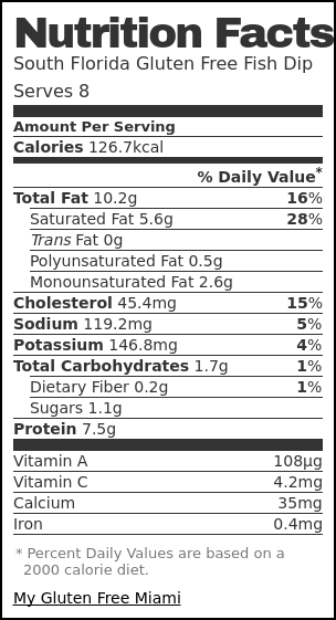 Nutrition label for South Florida Gluten Free Fish Dip