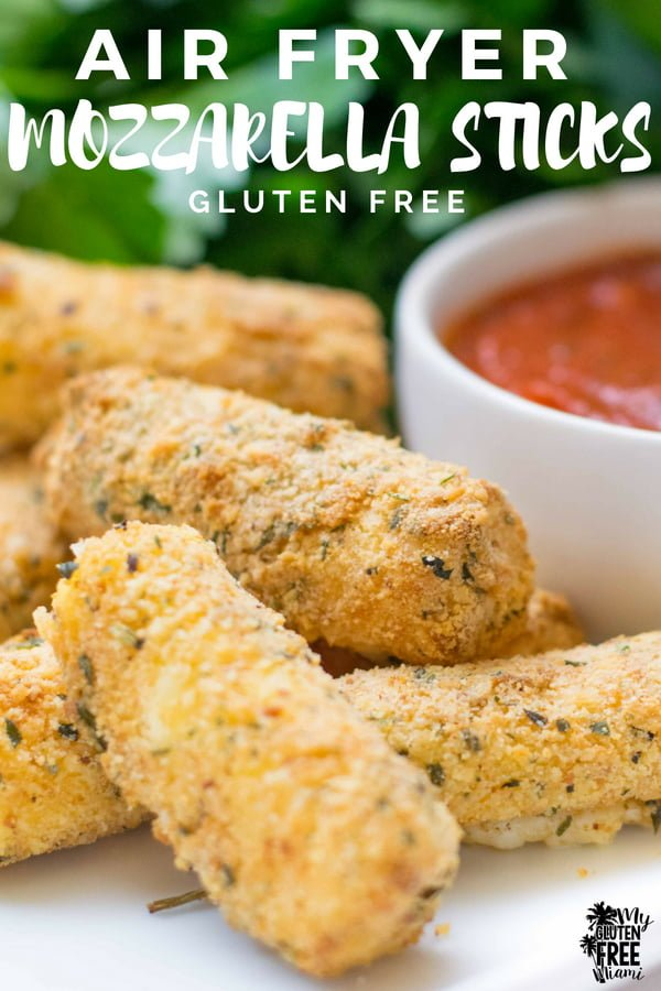 These gluten free air fryer mozzarella sticks are what you have been missing. Ooey-gooey, crunchy, cheesy goodness without the oily mess. Easy to make and the perfect gluten free party treat. These craveable gluten free mozzarella sticks are the perfect air fryer recipe.