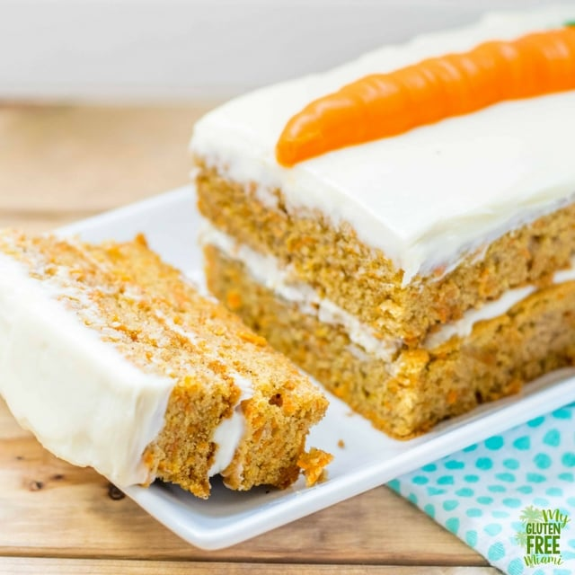 Sliced gluten free carrot cake