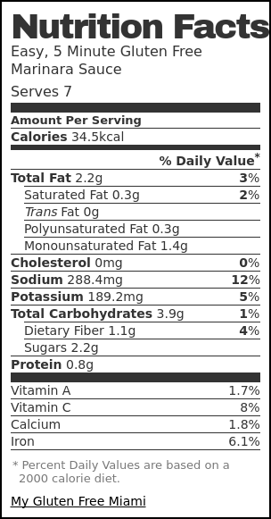 Nutrition label for Easy, 5 Minute Gluten Free Marinara Sauce
