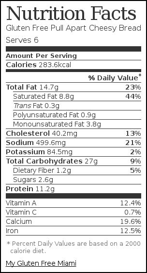 Nutrition label for Gluten Free Pull Apart Cheesy Bread