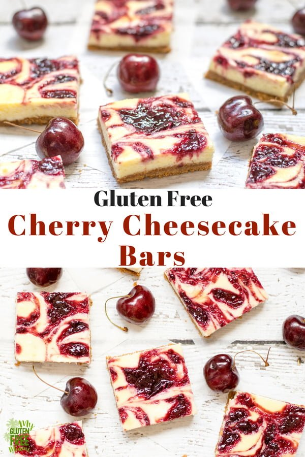 Easy to make and delicious to eat, these gluten free cherry cheesecake bars are the perfect combo of tangy cherries and sweet, creamy cheesecake on a gluten freegraham cracker crust. #glutenfree #glutenfreerecipes #cherries #cheesecake #cheesecakebars