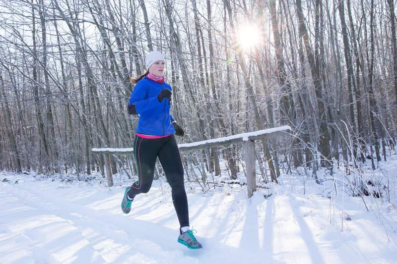 Langer Lauf in der Wintersonne