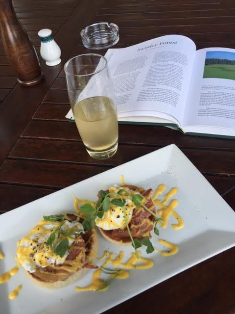 Eggs benedict and reading up on the course