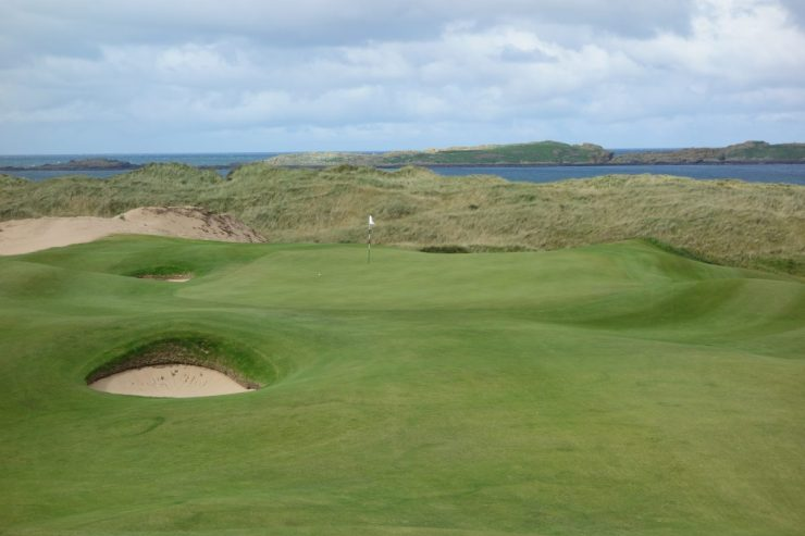 13th green at Royal Portrush Dunluce links