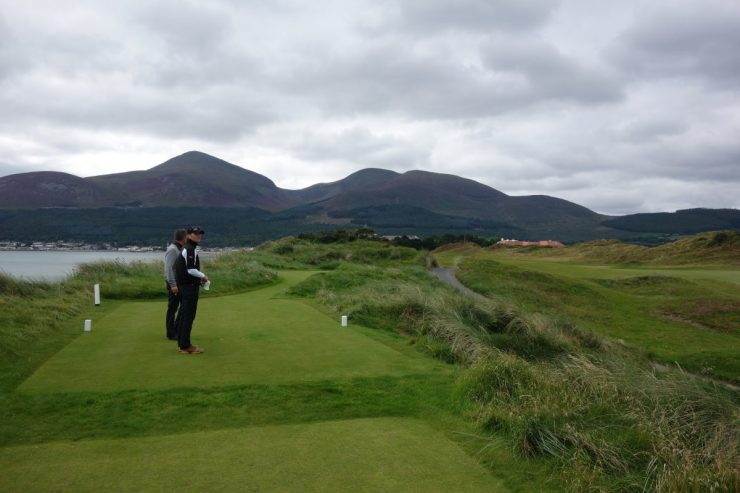 View back down 1st hole from 2nd tee