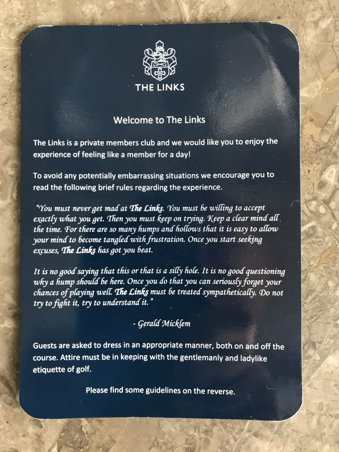 welcome note from Fancourt links